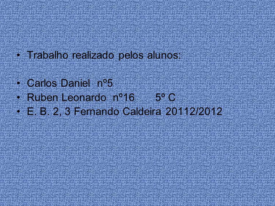 Trabalho realizado pelos alunos: Carlos Daniel nº5 Ruben Leonardo nº16 5º C E. B. 2, 3 Fernando Caldeira 20112/2012