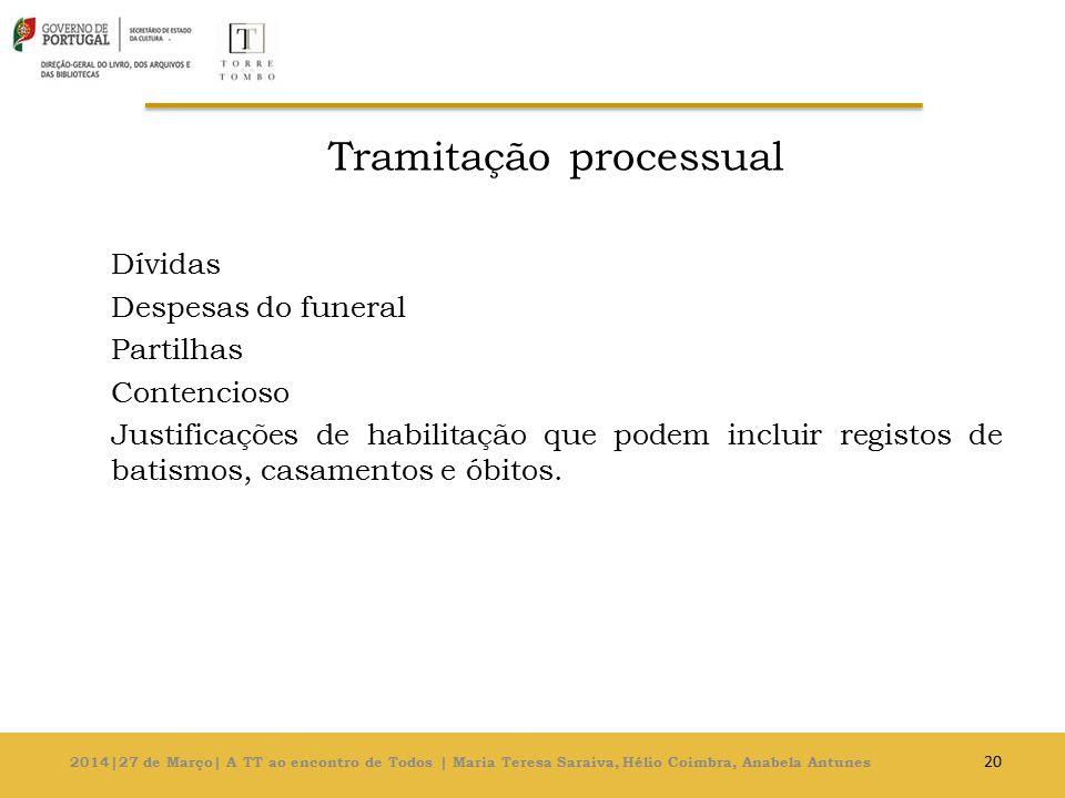 Tramitação processual Dívidas Despesas do funeral Partilhas Contencioso Justificações de habilitação que podem incluir registos de batismos, casamentos e óbitos.