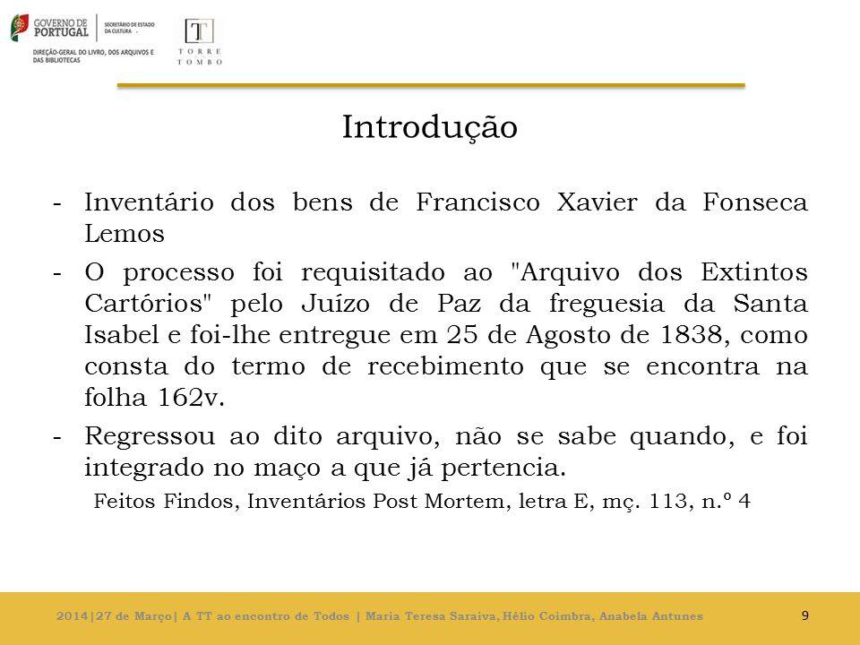 Introdução -Inventário dos bens de Francisco Xavier da Fonseca Lemos -O processo foi requisitado ao Arquivo dos Extintos Cartórios pelo Juízo de Paz da freguesia da Santa Isabel e foi-lhe entregue em 25 de Agosto de 1838, como consta do termo de recebimento que se encontra na folha 162v.