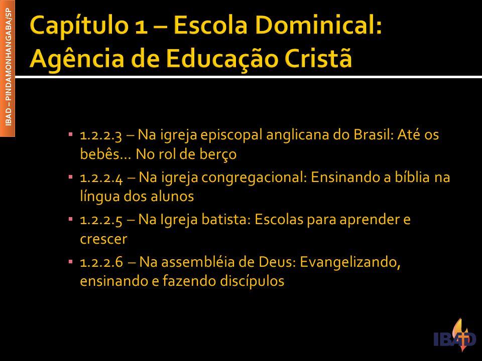 IBAD – PINDAMONHANGABA/SP ▪ 1.2.2.3 – Na igreja episcopal anglicana do Brasil: Até os bebês... No rol de berço ▪ 1.2.2.4 – Na igreja congregacional: E