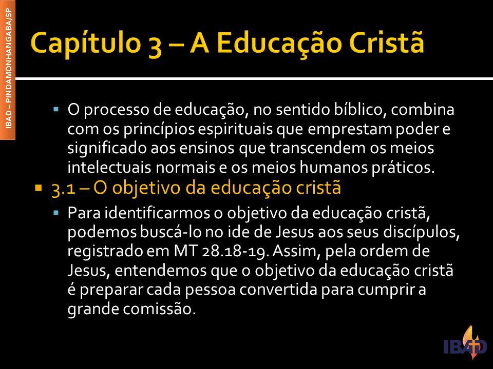 IBAD – PINDAMONHANGABA/SP  O processo de educação, no sentido bíblico, combina com os princípios espirituais que emprestam poder e significado aos en