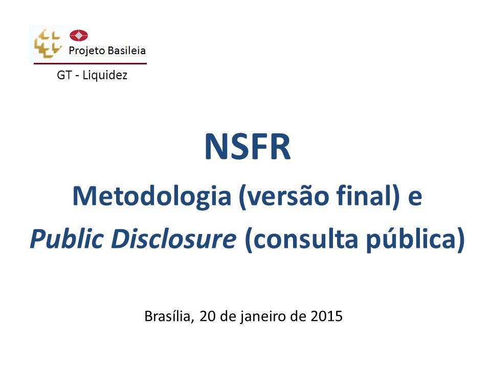 2  Principais conceitos da métrica do NSFR Captações estáveis disponíveis (ASF) Captações estáveis necessárias (RSF) Divulgação de informações do NSFR NSFR – BCBS 295 – Documento Final Agenda
