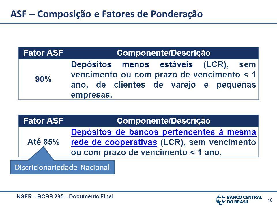16 NSFR – BCBS 295 – Documento Final ASF – Composição e Fatores de Ponderação Fator ASFComponente/Descrição 90% Depósitos menos estáveis (LCR), sem ve