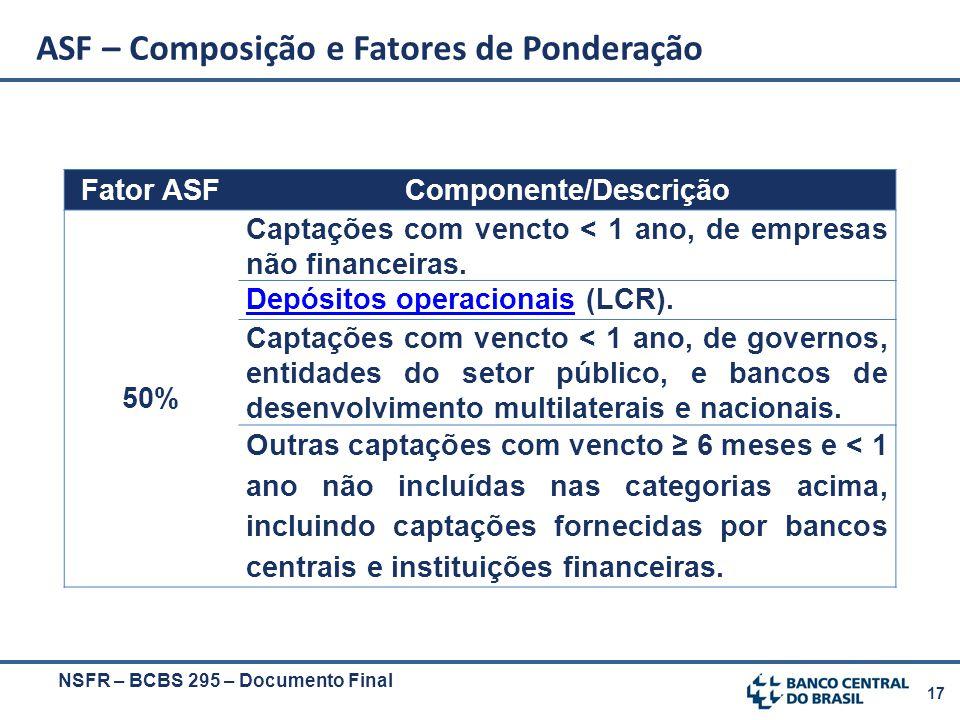 17 Fator ASFComponente/Descrição 50% Captações com vencto < 1 ano, de empresas não financeiras. Depósitos operacionaisDepósitos operacionais (LCR). Ca