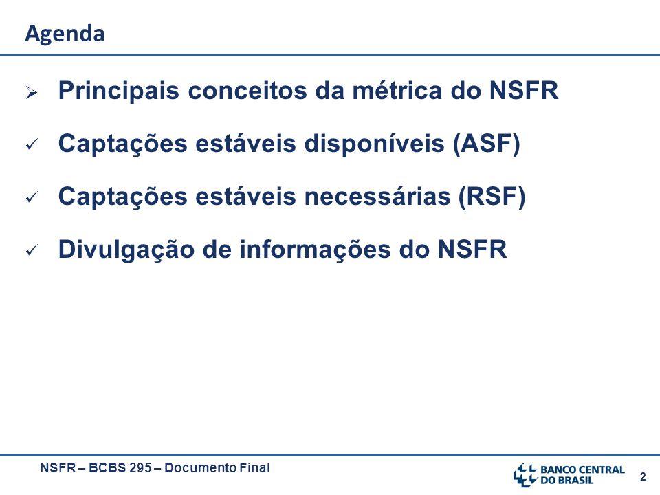 2  Principais conceitos da métrica do NSFR Captações estáveis disponíveis (ASF) Captações estáveis necessárias (RSF) Divulgação de informações do NSF