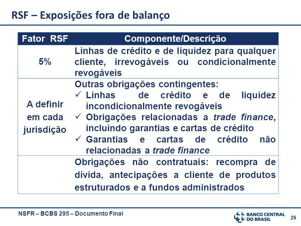 26 Fator RSFComponente/Descrição A definir em cada jurisdição Outras obrigações contingentes: Linhas de crédito e de liquidez incondicionalmente revog