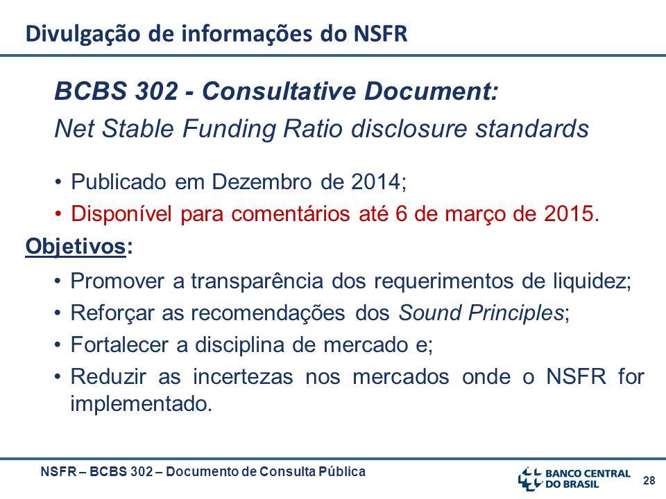 28 BCBS 302 - Consultative Document: Net Stable Funding Ratio disclosure standards Publicado em Dezembro de 2014; Disponível para comentários até 6 de