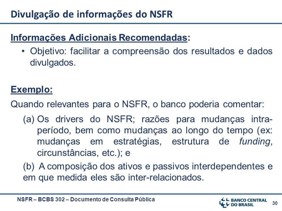 30 NSFR – BCBS 302 – Documento de Consulta Pública Informações Adicionais Recomendadas: Objetivo: facilitar a compreensão dos resultados e dados divul