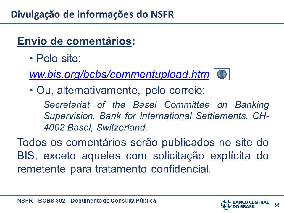 36 Envio de comentários: Pelo site: ww.bis.org/bcbs/commentupload.htm Ou, alternativamente, pelo correio: Secretariat of the Basel Committee on Bankin