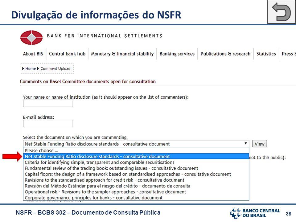 38 NSFR – BCBS 302 – Documento de Consulta Pública Divulgação de informações do NSFR