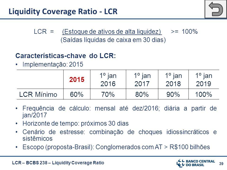 39 LCR = (Estoque de ativos de alta liquidez) >= 100% (Saídas líquidas de caixa em 30 dias) Características-chave do LCR: Implementação: 2015 Frequênc