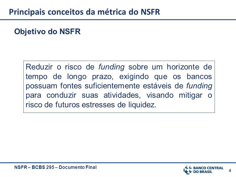 4 Objetivo do NSFR NSFR – BCBS 295 – Documento Final Principais conceitos da métrica do NSFR Reduzir o risco de funding sobre um horizonte de tempo de