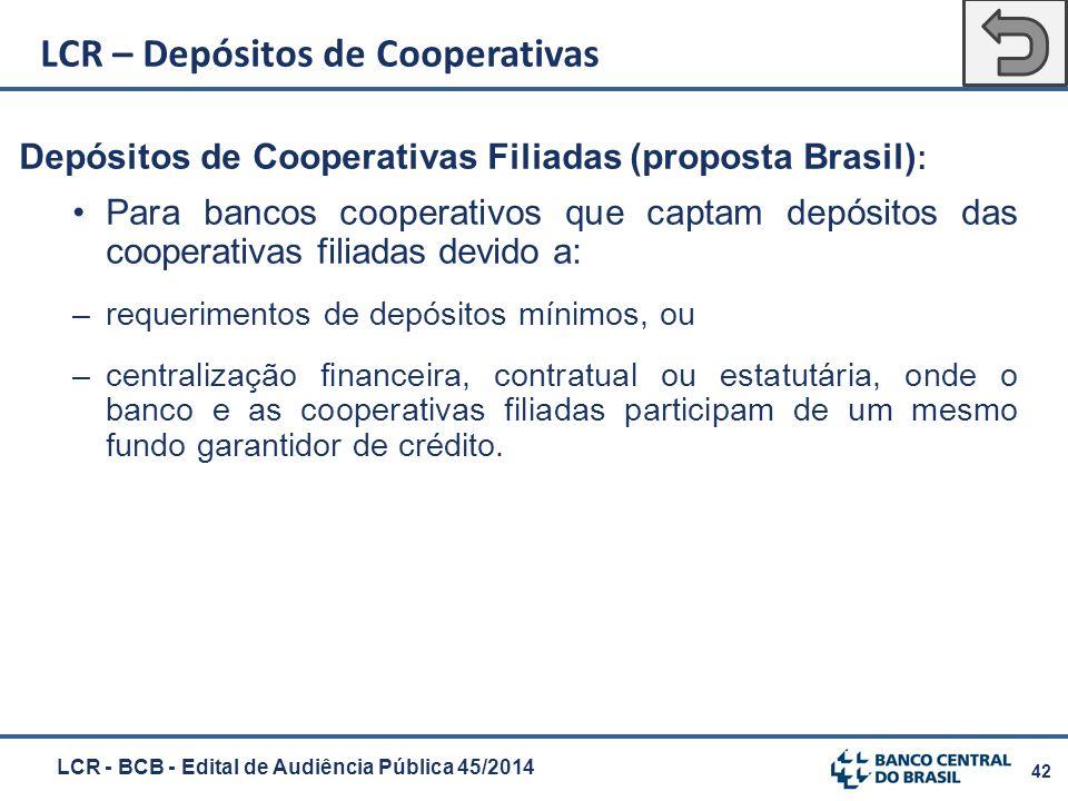 42 Depósitos de Cooperativas Filiadas (proposta Brasil) : Para bancos cooperativos que captam depósitos das cooperativas filiadas devido a: –requerime