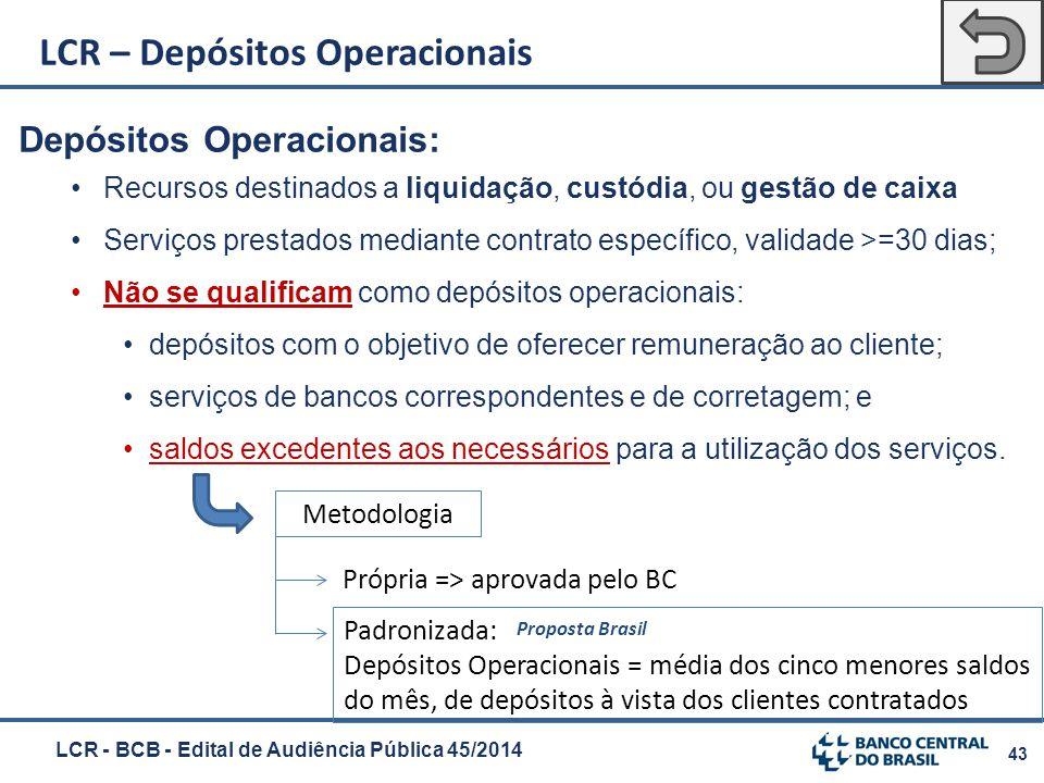 43 Depósitos Operacionais: Recursos destinados a liquidação, custódia, ou gestão de caixa Serviços prestados mediante contrato específico, validade >=
