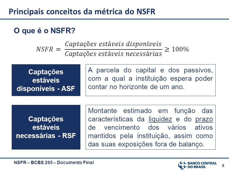 5 O que é o NSFR? NSFR – BCBS 295 – Documento Final Principais conceitos da métrica do NSFR Captações estáveis disponíveis - ASF A parcela do capital