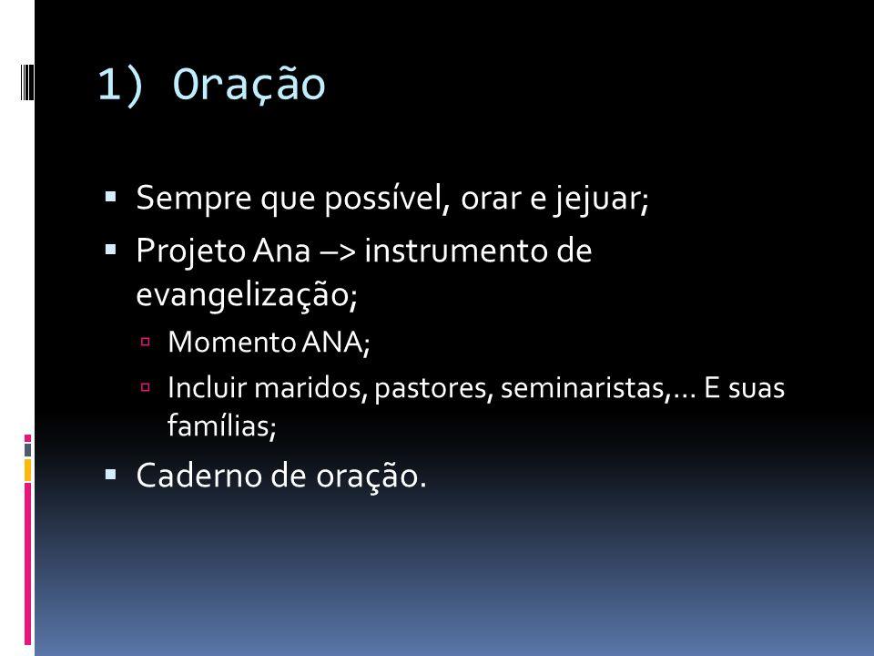 1) Oração  Sempre que possível, orar e jejuar;  Projeto Ana –> instrumento de evangelização;  Momento ANA;  Incluir maridos, pastores, seminarista