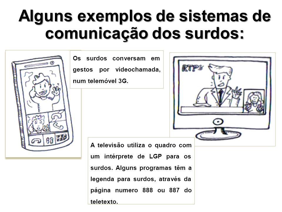 Alguns exemplos de sistemas de comunicação dos surdos: Os surdos conversam em gestos por videochamada, num telemóvel 3G. A televisão utiliza o quadro
