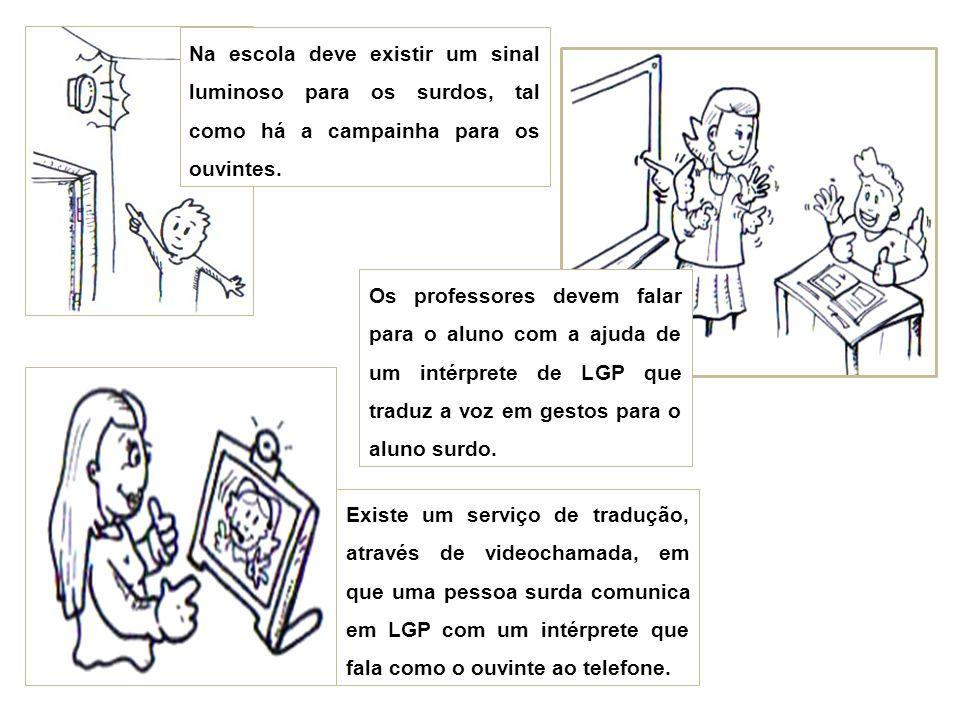 Na escola deve existir um sinal luminoso para os surdos, tal como há a campainha para os ouvintes. Os professores devem falar para o aluno com a ajuda