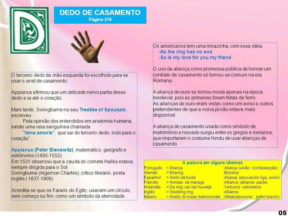 5 05 DEDO DE CASAMENTO Página 216 O terceiro dedo da mão esquerda foi escolhido para se usar o anel de casamento.