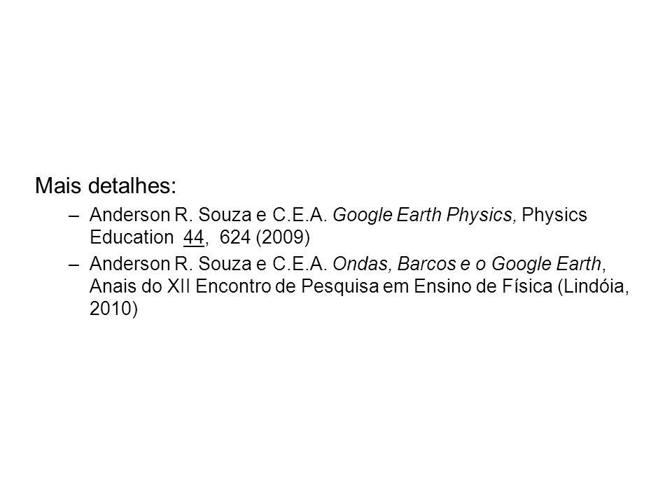 Mais detalhes: –Anderson R. Souza e C.E.A. Google Earth Physics, Physics Education 44, 624 (2009) –Anderson R. Souza e C.E.A. Ondas, Barcos e o Google