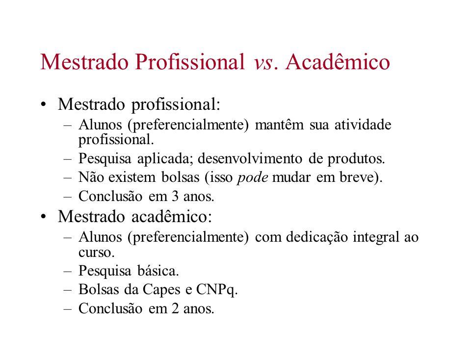 Mestrado Profissional vs. Acadêmico Mestrado profissional: –Alunos (preferencialmente) mantêm sua atividade profissional. –Pesquisa aplicada; desenvol