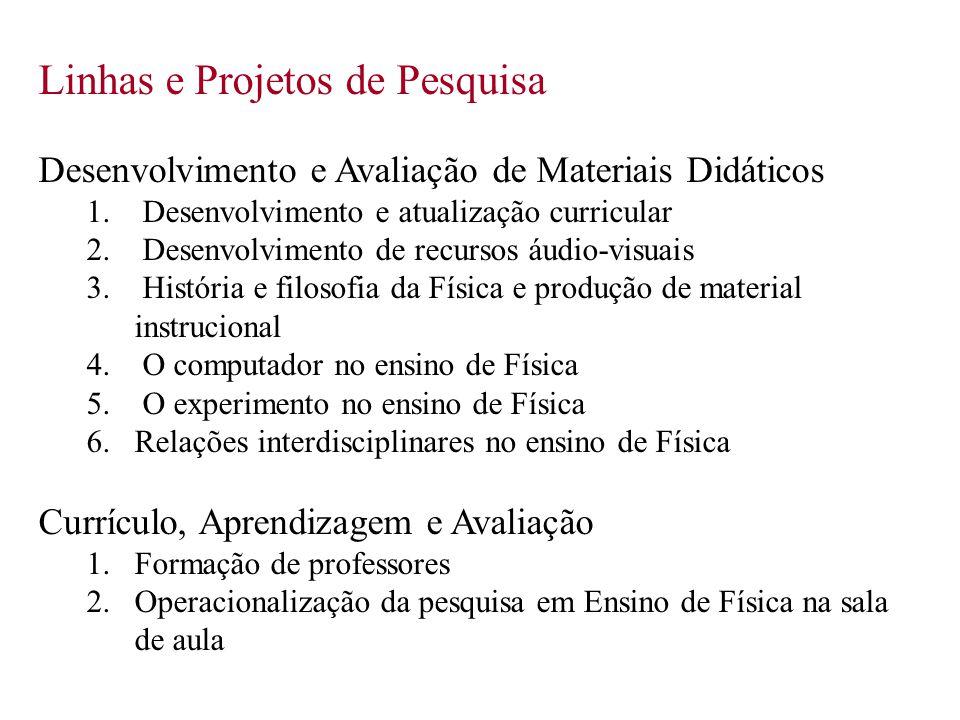Linhas e Projetos de Pesquisa Desenvolvimento e Avaliação de Materiais Didáticos 1. Desenvolvimento e atualização curricular 2. Desenvolvimento de rec