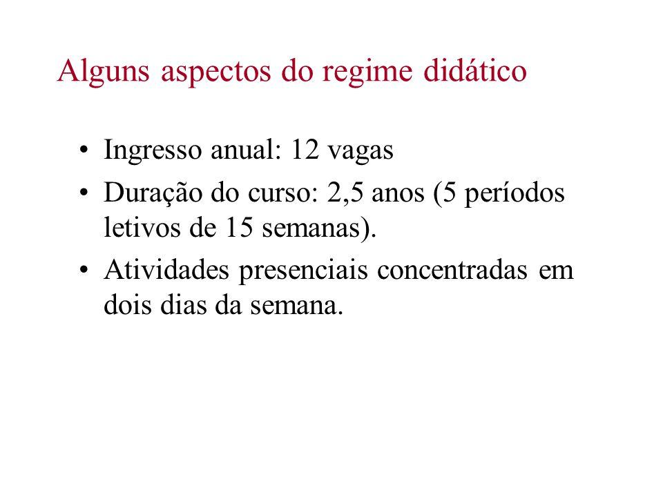 Alguns aspectos do regime didático Ingresso anual: 12 vagas Duração do curso: 2,5 anos (5 períodos letivos de 15 semanas). Atividades presenciais conc
