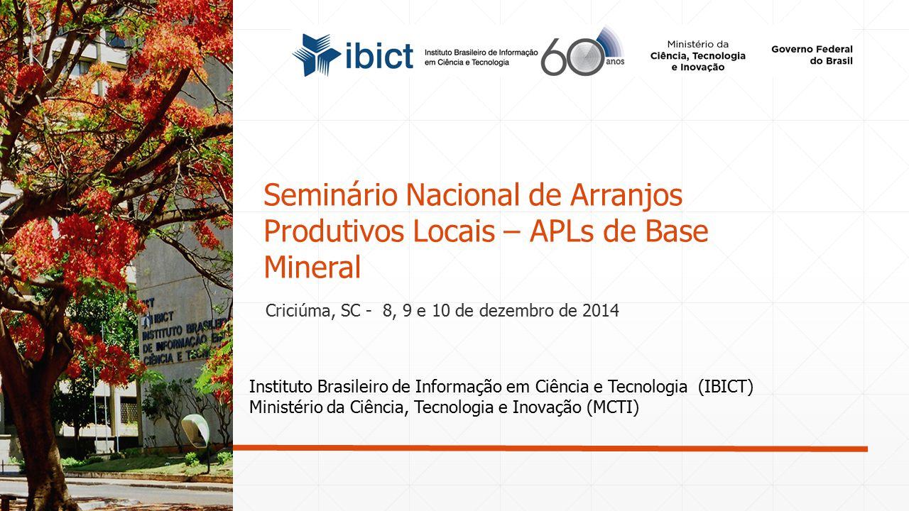 Instituto Brasileiro de Informação em Ciência e Tecnologia (IBICT) Ministério da Ciência, Tecnologia e Inovação (MCTI) Seminário Nacional de Arranjos
