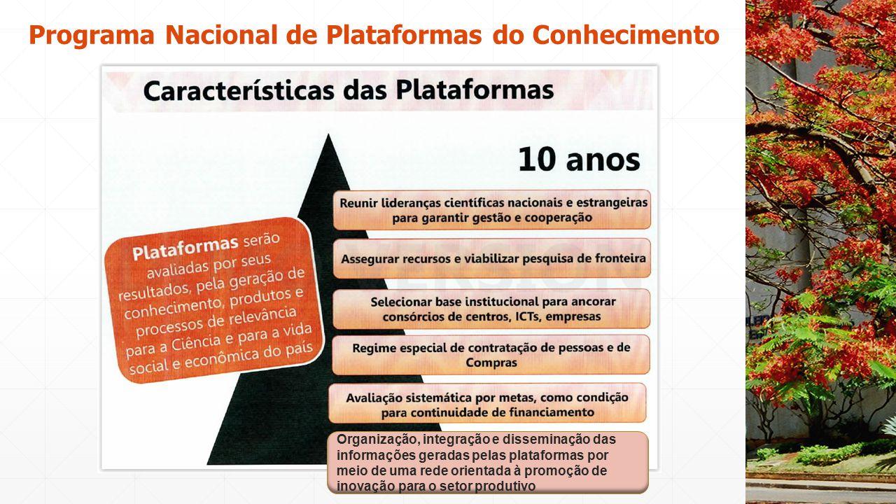 Programa Nacional de Plataformas do Conhecimento 13 Organização, integração e disseminação das informações geradas pelas plataformas por meio de uma r