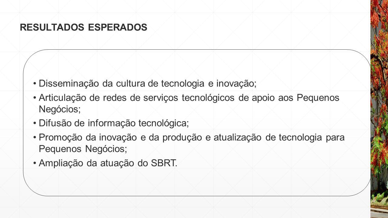 RESULTADOS ESPERADOS Disseminação da cultura de tecnologia e inovação; Articulação de redes de serviços tecnológicos de apoio aos Pequenos Negócios; D