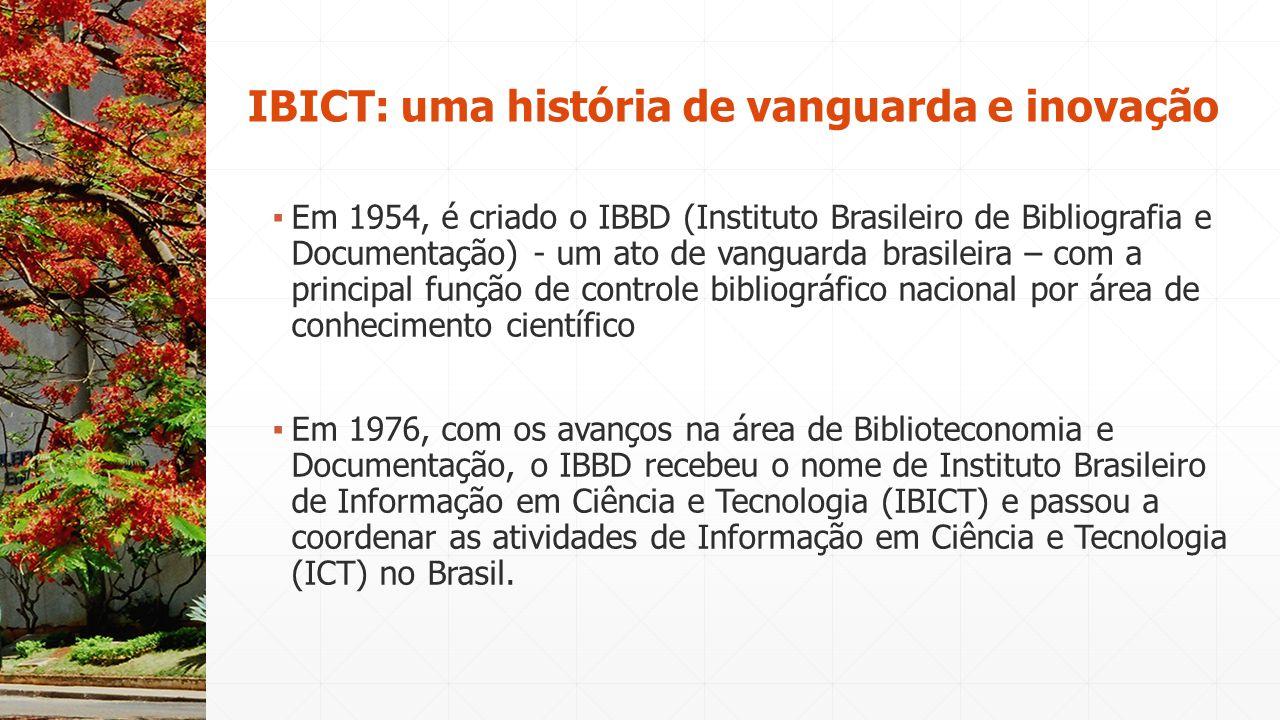▪ Em 1954, é criado o IBBD (Instituto Brasileiro de Bibliografia e Documentação) - um ato de vanguarda brasileira – com a principal função de controle
