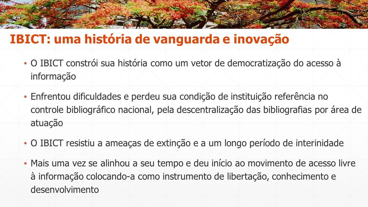 ▪ O IBICT constrói sua história como um vetor de democratização do acesso à informação ▪ Enfrentou dificuldades e perdeu sua condição de instituição r