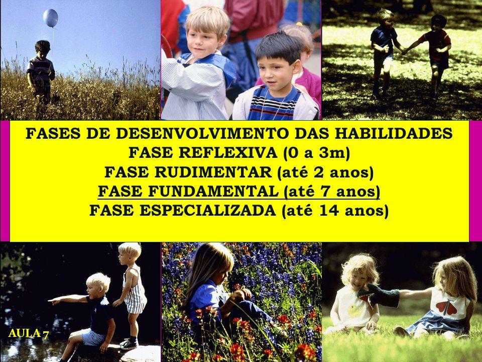FASES DE DESENVOLVIMENTO DAS HABILIDADES FASE REFLEXIVA (0 a 3m) FASE RUDIMENTAR (até 2 anos) FASE FUNDAMENTAL (até 7 anos) FASE ESPECIALIZADA (até 14