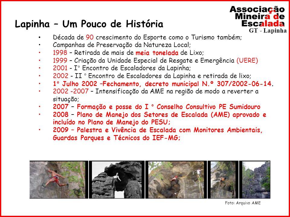 Lapinha – Um Pouco de História Década de 90 crescimento do Esporte como o Turismo também; Campanhas de Preservação da Natureza Local; 1998 – Retirada