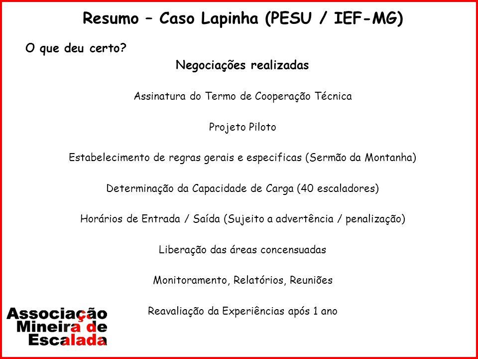 Resumo – Caso Lapinha (PESU / IEF-MG) O que deu certo? Negociações realizadas Assinatura do Termo de Cooperação Técnica Projeto Piloto Estabelecimento