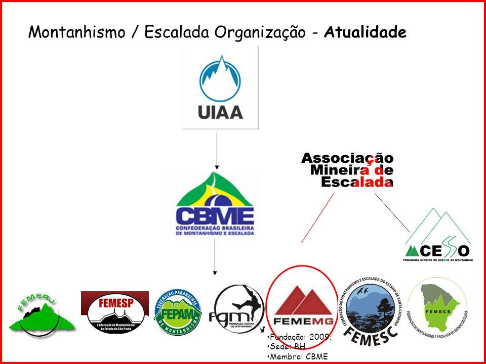 Montanhismo / Escalada Organização - Atualidade Fundação: 2009; Sede: BH Membro: CBME