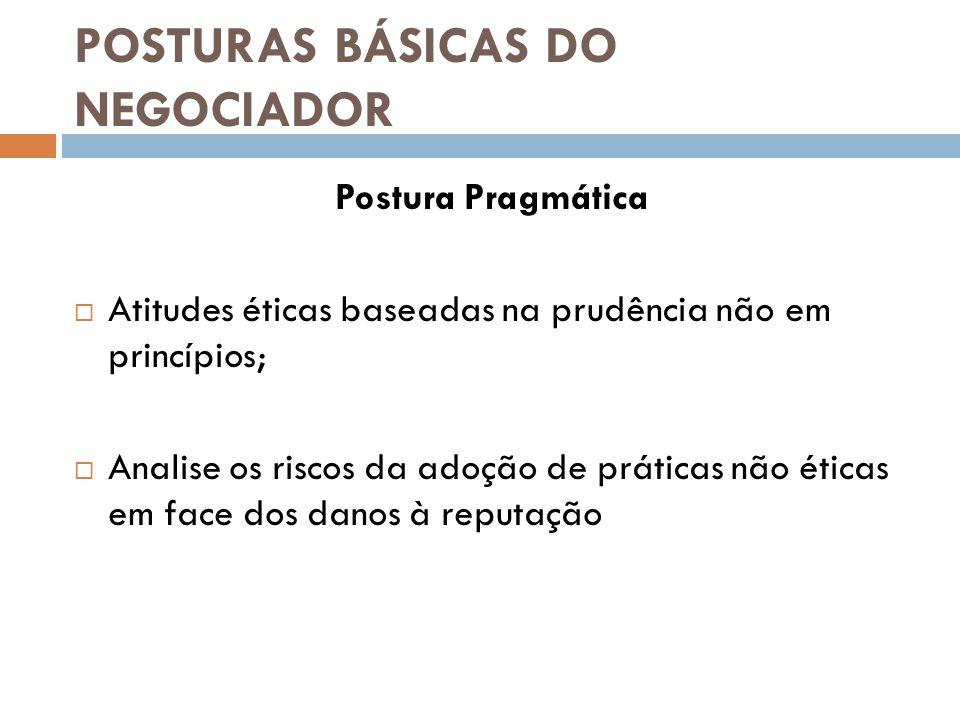 POSTURAS BÁSICAS DO NEGOCIADOR Postura Pragmática  Atitudes éticas baseadas na prudência não em princípios;  Analise os riscos da adoção de práticas não éticas em face dos danos à reputação