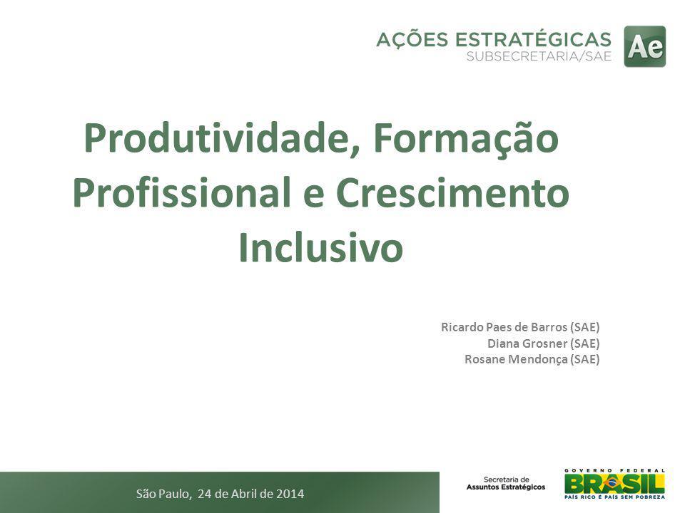 Produtividade, Formação Profissional e Crescimento Inclusivo Ricardo Paes de Barros (SAE) Diana Grosner (SAE) Rosane Mendonça (SAE) São Paulo, 24 de A