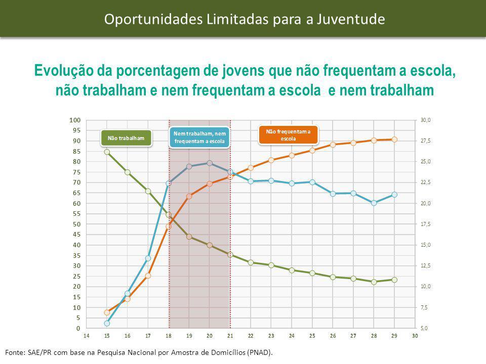 Evolução da porcentagem dos jovens que nem trabalham nem estudam, nem trabalham, por faixa etária' Fonte: SAE/PR com base na Pesquisa Nacional por Amostra de Domicílios (PNAD).