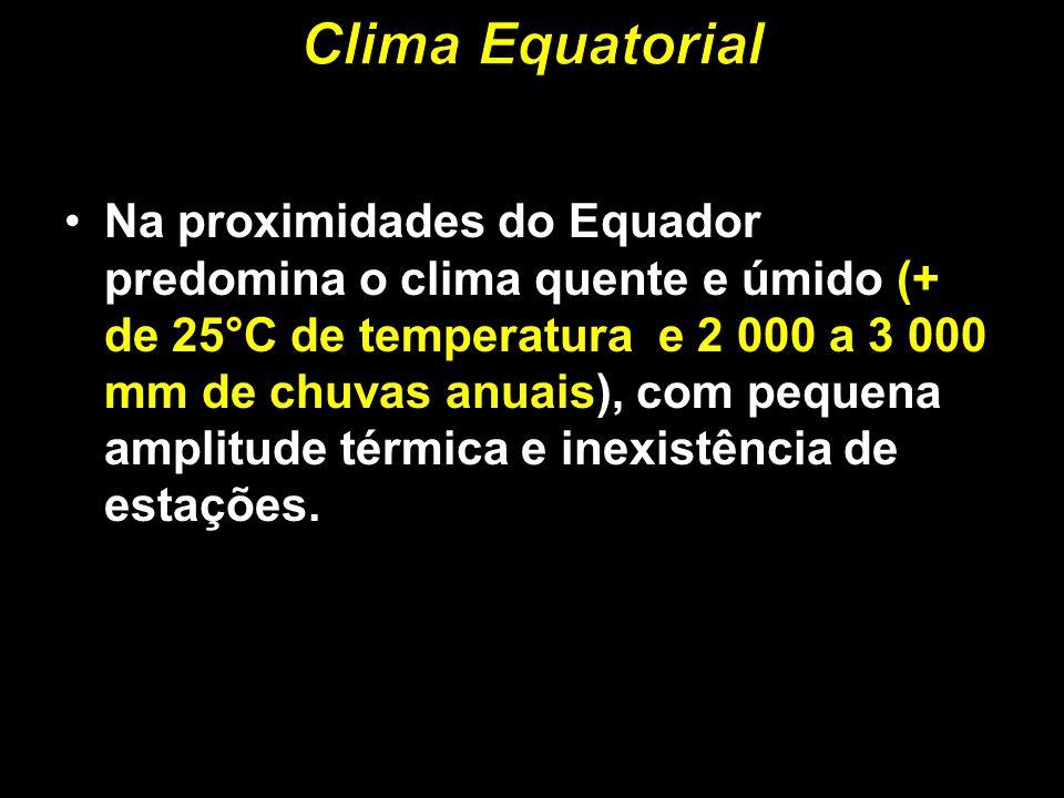 Na proximidades do Equador predomina o clima quente e úmido (+ de 25°C de temperatura e 2 000 a 3 000 mm de chuvas anuais), com pequena amplitude térm