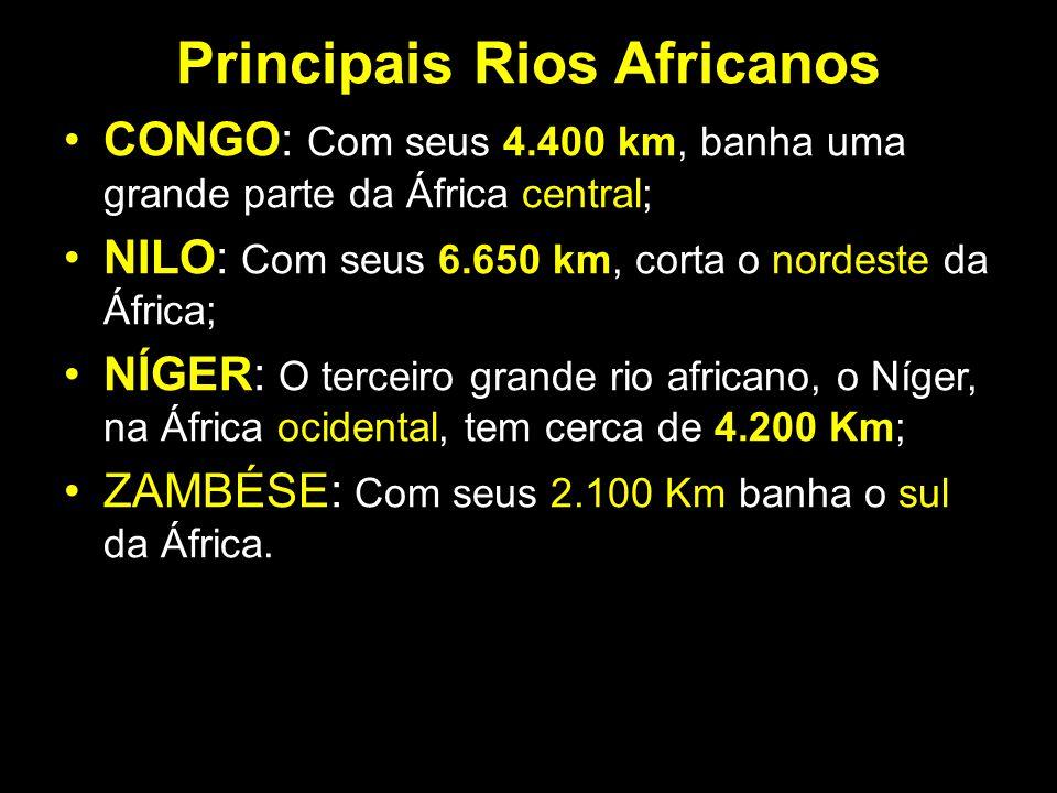 Principais Rios Africanos CONGO: Com seus 4.400 km, banha uma grande parte da África central; NILO: Com seus 6.650 km, corta o nordeste da África; NÍG