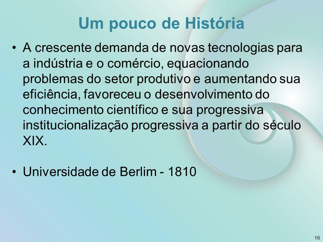 A crescente demanda de novas tecnologias para a indústria e o comércio, equacionando problemas do setor produtivo e aumentando sua eficiência, favoreceu o desenvolvimento do conhecimento científico e sua progressiva institucionalização progressiva a partir do século XIX.