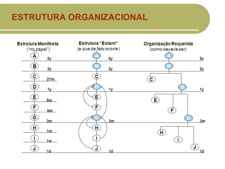 ESTRUTURA ORGANIZACIONAL Estrutura Manifesta ( no papel ) Estrutura Extant (a que de fato ocorre) Organização Requerida (como deveria ser) A B C D E F G H I J A B C D E F G H I J A B C D E F G H I J 1d 1w 1m 3m 6m 9m 1y 21m 2y 5y 2y