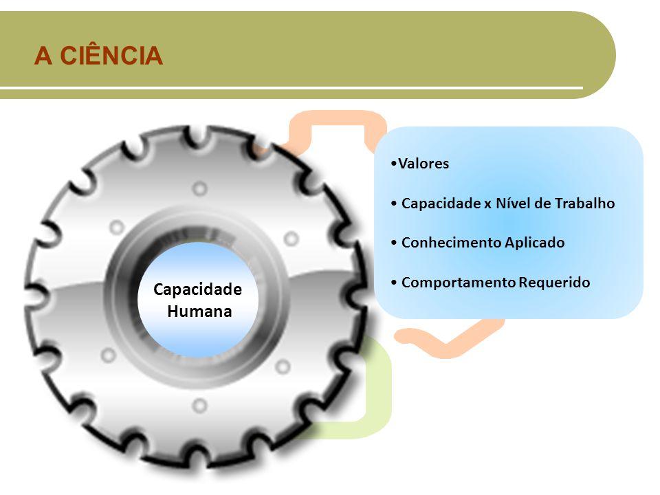 A CIÊNCIA Capacidade Humana Humana Valores Capacidade x Nível de Trabalho Conhecimento Aplicado Comportamento Requerido