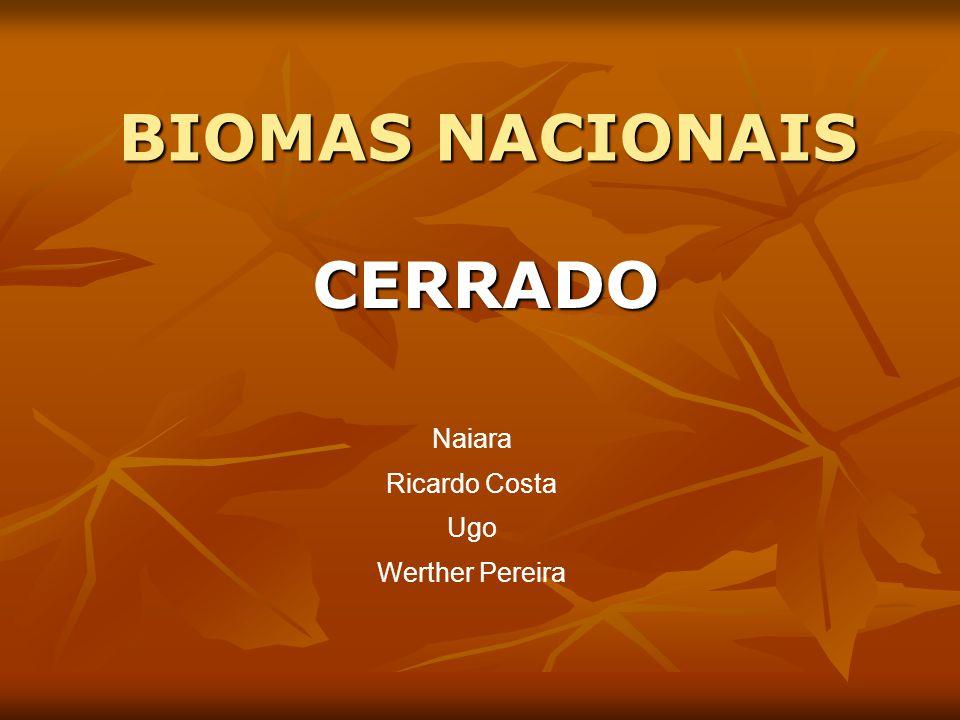 BIOMAS NACIONAIS CERRADO Naiara Ricardo Costa Ugo Werther Pereira