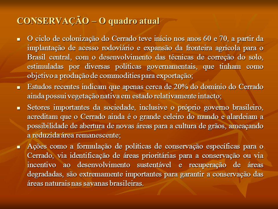CONSERVAÇÃO – O quadro atual O ciclo de colonização do Cerrado teve início nos anos 60 e 70, a partir da implantação de acesso rodoviário e expansão da fronteira agrícola para o Brasil central, com o desenvolvimento das técnicas de correção do solo, estimuladas por diversas políticas governamentais, que tinham como objetivo a produção de commodities para exportação; O ciclo de colonização do Cerrado teve início nos anos 60 e 70, a partir da implantação de acesso rodoviário e expansão da fronteira agrícola para o Brasil central, com o desenvolvimento das técnicas de correção do solo, estimuladas por diversas políticas governamentais, que tinham como objetivo a produção de commodities para exportação; Estudos recentes indicam que apenas cerca de 20% do domínio do Cerrado ainda possui vegetação nativa em estado relativamente intacto; Estudos recentes indicam que apenas cerca de 20% do domínio do Cerrado ainda possui vegetação nativa em estado relativamente intacto; Setores importantes da sociedade, inclusive o próprio governo brasileiro, acreditam que o Cerrado ainda é o grande celeiro do mundo e alardeiam a possibilidade de abertura de novas áreas para a cultura de grãos, ameaçando a reduzida área remanescente; Setores importantes da sociedade, inclusive o próprio governo brasileiro, acreditam que o Cerrado ainda é o grande celeiro do mundo e alardeiam a possibilidade de abertura de novas áreas para a cultura de grãos, ameaçando a reduzida área remanescente; Ações como a formulação de políticas de conservação específicas para o Cerrado, via identificação de áreas prioritárias para a conservação ou via incentivo ao desenvolvimento sustentável e recuperação de áreas degradadas, são extremamente importantes para garantir a conservação das áreas naturais nas savanas brasileiras.