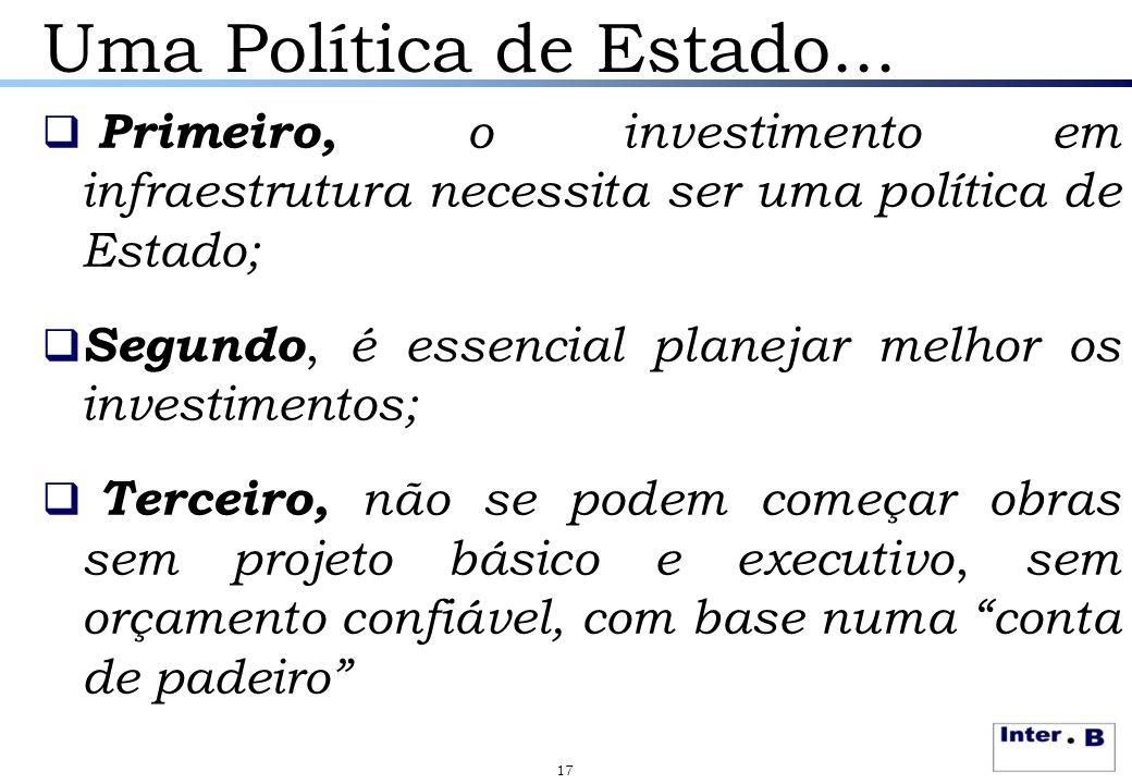 Uma Política de Estado...  Primeiro, o investimento em infraestrutura necessita ser uma política de Estado;  Segundo, é essencial planejar melhor os