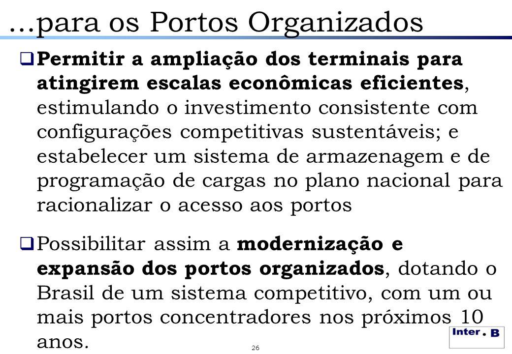 ...para os Portos Organizados  Permitir a ampliação dos terminais para atingirem escalas econômicas eficientes, estimulando o investimento consistent