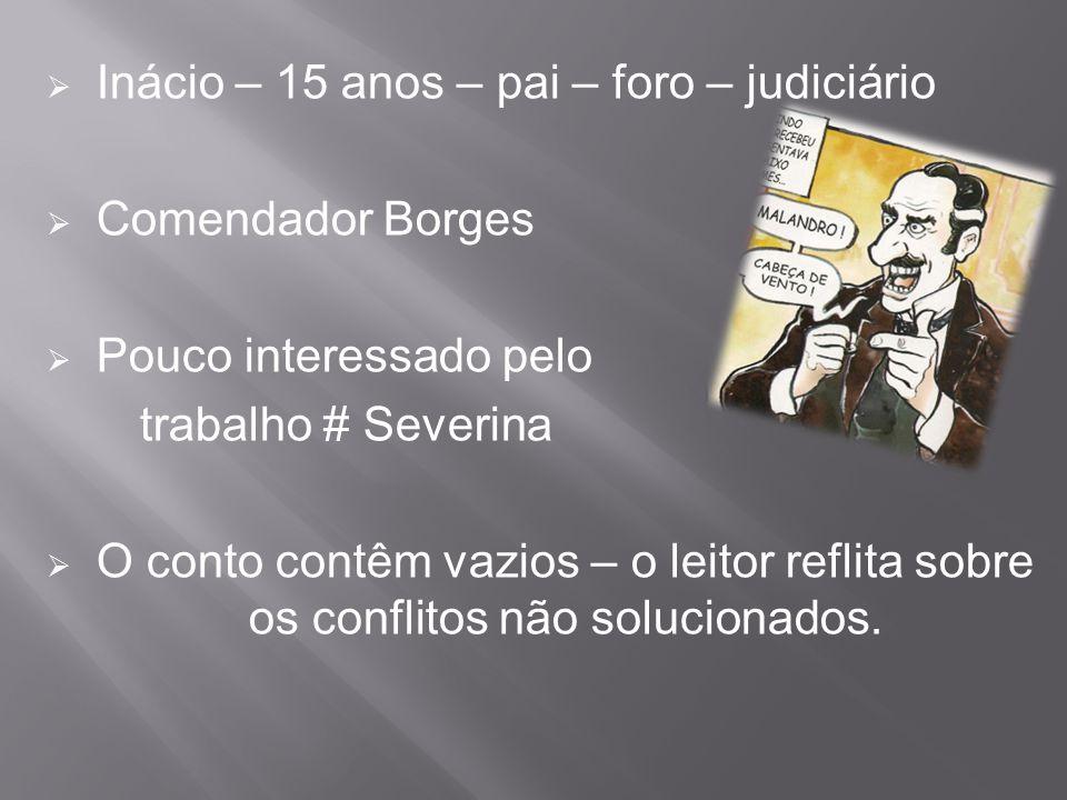  Inácio – 15 anos – pai – foro – judiciário  Comendador Borges  Pouco interessado pelo trabalho # Severina  O conto contêm vazios – o leitor refli