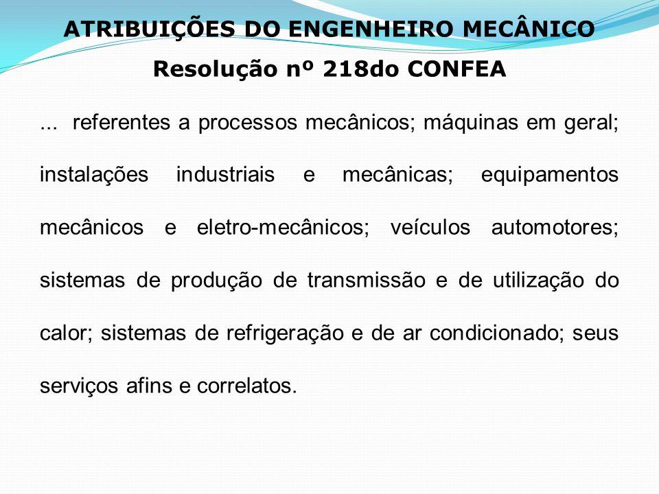 ATRIBUIÇÕES DO ENGENHEIRO MECÂNICO Resolução nº 218do CONFEA... referentes a processos mecânicos; máquinas em geral; instalações industriais e mecânic